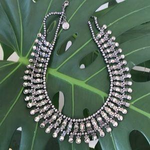 Midnight sparkling bib statement necklace